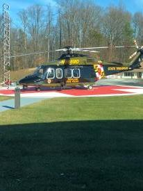 MSP trooper 2 on the pad at CMH as the crew went by ground with CHF10 and A68.