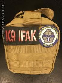 K9 Individual First Aid Kit (IFAK) assembled by CALS medics who have received the specialized K9 training.