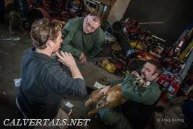 Picture of CALS medics receiving specialized training in K9 care from trained veterinarian staff.