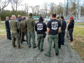 Handlers taking part in one of the many outdoor drills during the course.