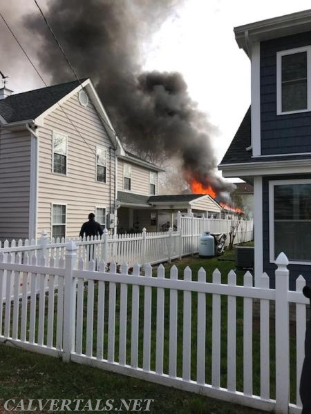 Fully involved garage fire in Solomons Island