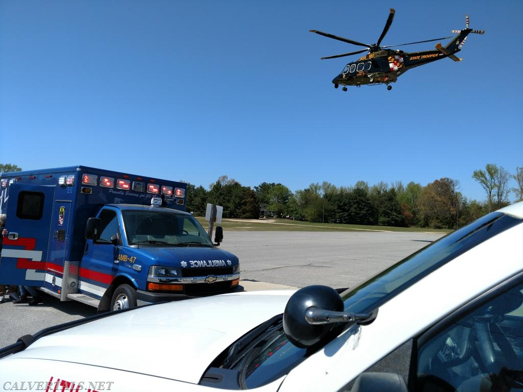 MSP Trooper 7 handling the fly out from the industrial accident.