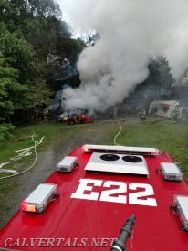 E22's Deck Gun made quick work of the shed fire.