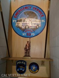 The patch hand painted of ESU 10 Truck in the staircase to their quarters.
