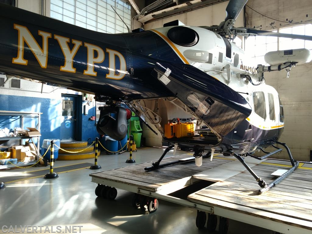 The NYPD's only EMS helicopter (the QRH).  Designed to be light and fast, no frills, on the cot and to the trauma center in minutes.