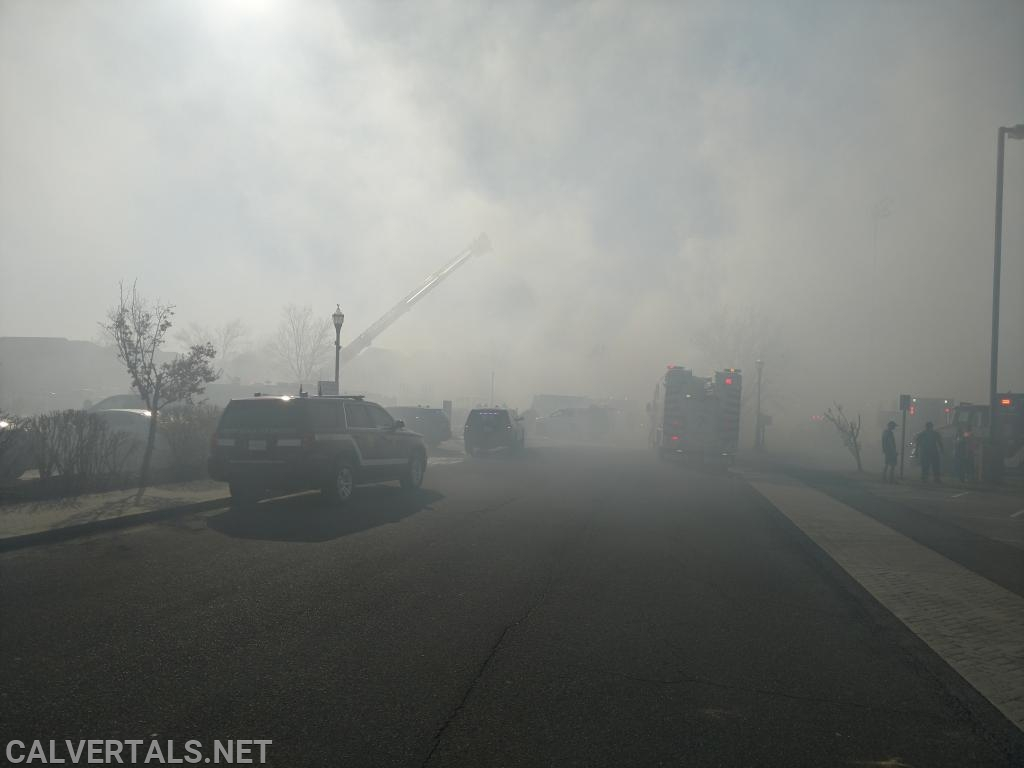 Smoke from the fire covered the entire neighborhood.