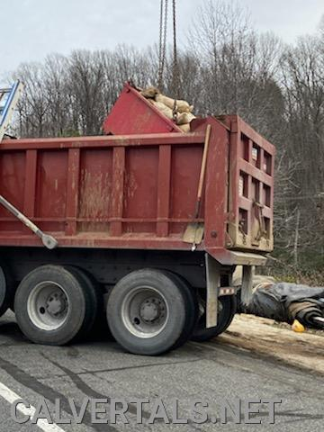 Area of the truck where the subject was trapped in the back of the dump truck.